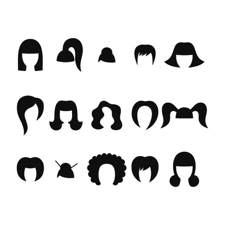 bob: Set of hairstyles for woman isolated on white background