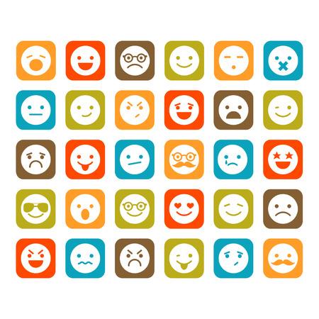 caras tristes: Conjunto de iconos sonrientes Vectores