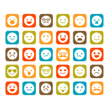 happy emoticon: Set of smiley icons