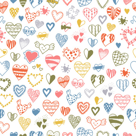 Seamless pattern of hand drawn doodle hearts