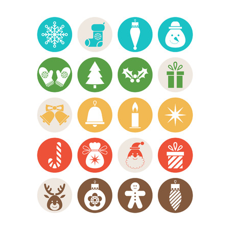 Set of Christmas icons Vettoriali