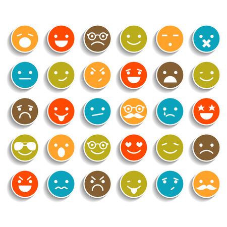 caras de emociones: Conjunto de iconos sonrientes de color