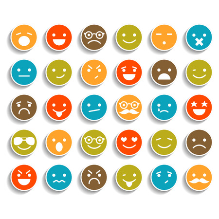 emotions: Set of color smiley icons