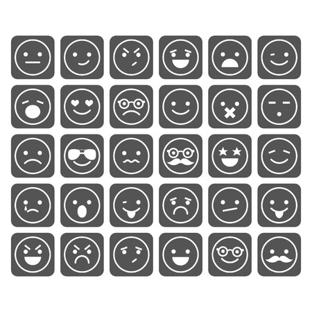 Set of smiley icons isolated Vettoriali