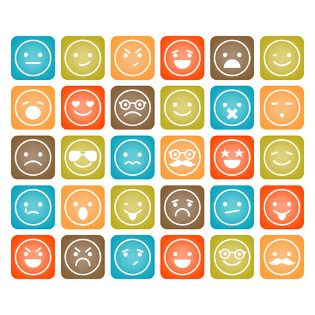 sad cartoon: Set of color smiley icons isolated Illustration