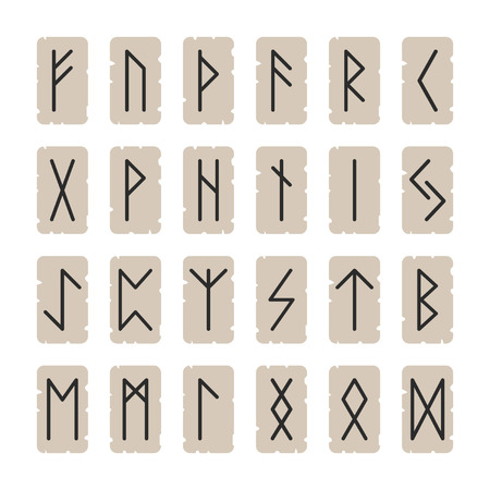 Set of signs runes on a background Vector