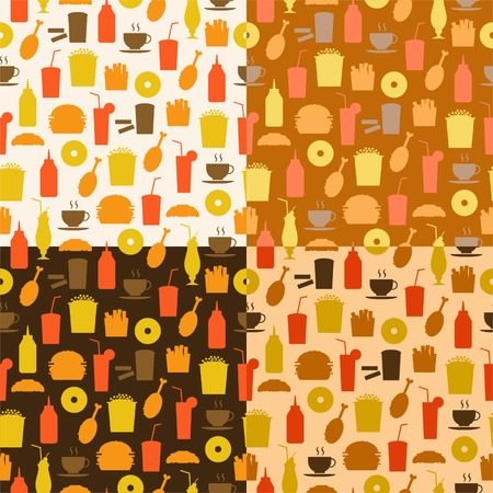Set of seamless pattern of fast food icons
