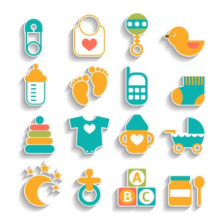 Conjunto de iconos del bebé aislados en un fondo blanco Ilustración de vector