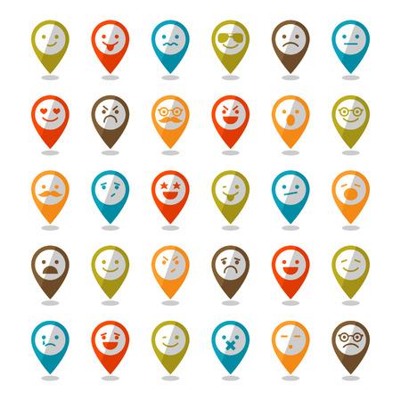 caras felices: Conjunto de iconos sonrientes de colores, alfileres de mapeo para el diseño