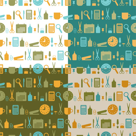 Set of color seamless patterns of office stationery icons Vector