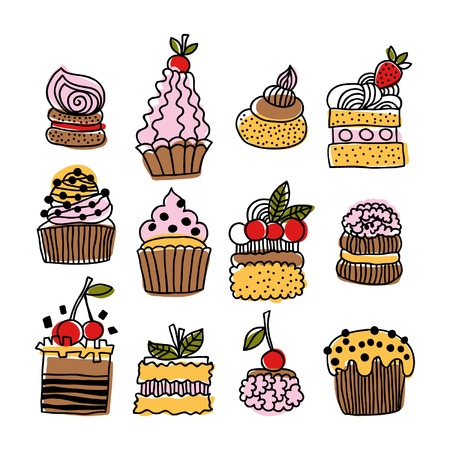 Set of hand drawn doodle cakes, desserts for design Vector