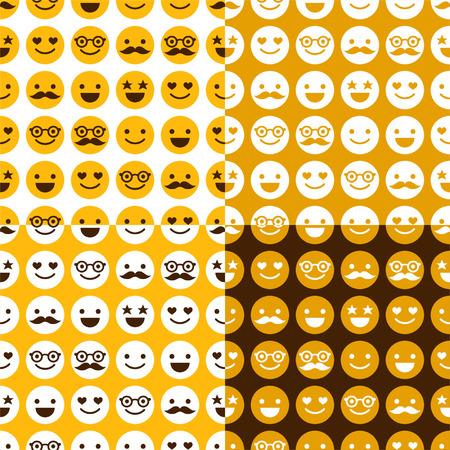 Set of seamless pattern of happy smileys