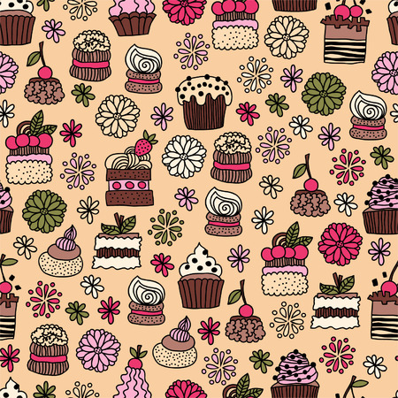 Seamless pattern of hand drawn doodle cakes, desserts for textiles, interior design, for book design, website background Vector