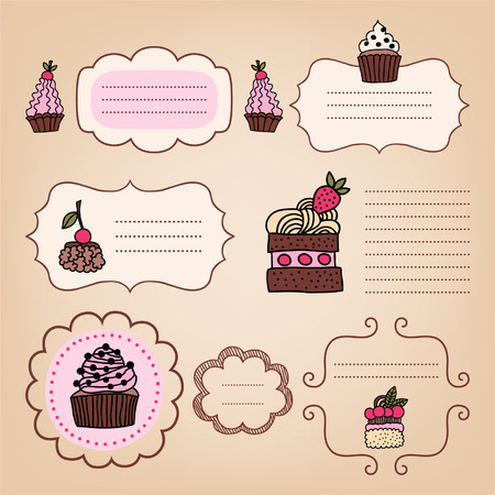 Set of vintage frames with cakes for design Vector