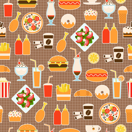 Seamless pattern of fast food for textiles, interior design, for book design, website background Vector