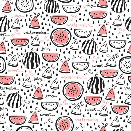 Naadloos patroon van hand getrokken watermeloenen voor textiel, interieur, voor boek ontwerp, website achtergrond Stock Illustratie