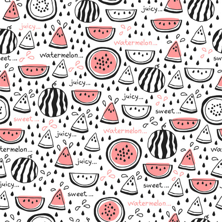 Seamless pattern of hand drawn watermelons for textiles, interior design, for book design, website background Vettoriali