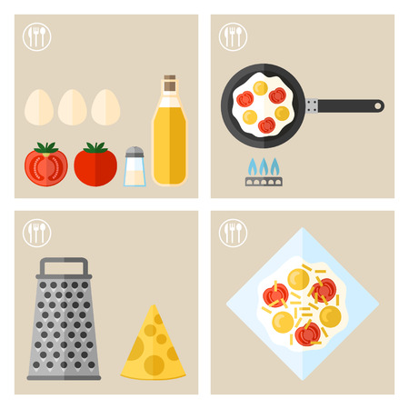 cooking recipe: Process of cooking eggs, cooking and icons food Illustration