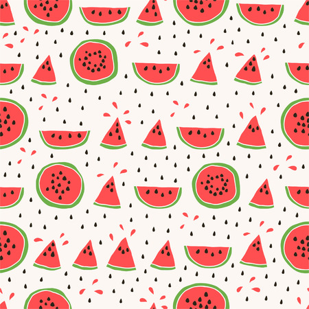 watermelon slice: Seamless pattern of color hand drawn watermelons Illustration