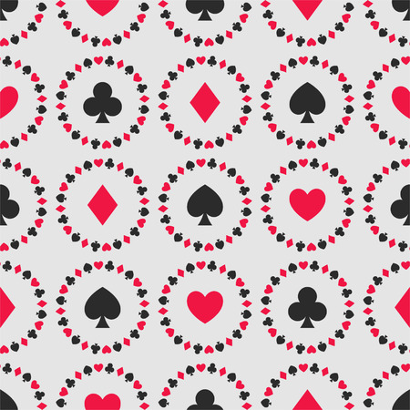 Seamless background of card suits, hearts, clubs, spades, diamonds