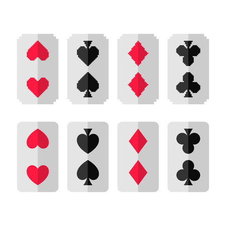Set of card suits, hearts, clubs, spades, diamonds for design Illustration