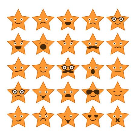 happy sad: Insieme delle stelle con diverse emozioni, felice, triste, icone sorridenti per la progettazione Vettoriali