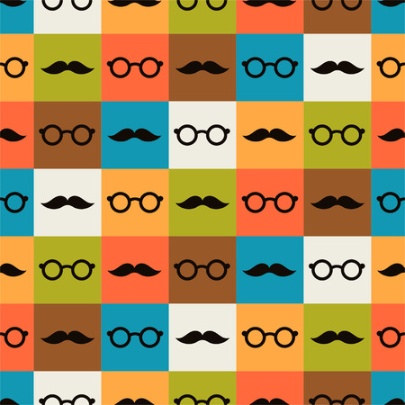 Seamless background of glasses and mustache for textiles, interior design, for book design, website background Vector