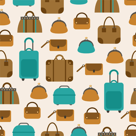 Seamless pattern of bags, luggage, baggage  Vector
