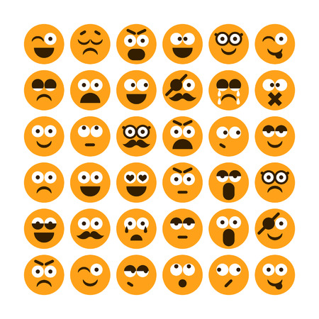 Set of different smiling icons for design Vettoriali