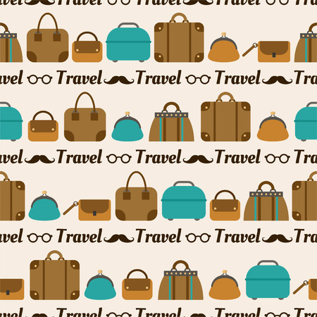 Seamless pattern of bags, luggage, baggage for textiles, interior design, for book design, website background Vector