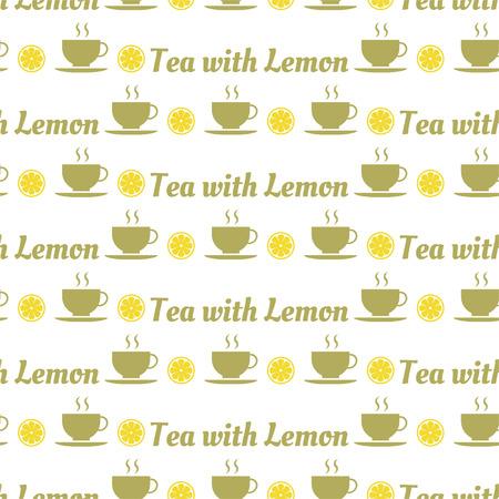 Seamless pattern of tea and lemons for textiles, interior design, book design, website background