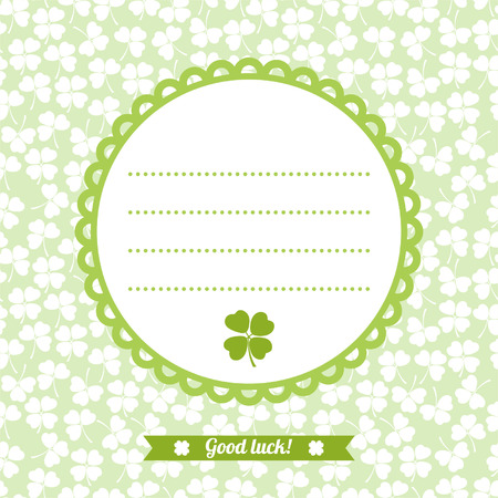 Abstract decorative flower background with clover, shamrocks and place for your text for design Vector