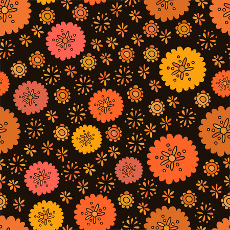 Seamless color decorative flower pattern for textiles, interior design, for book design, website background Vector