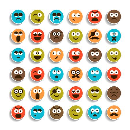 Juego de emoción caras sonrientes iconos para diseño Ilustración de vector