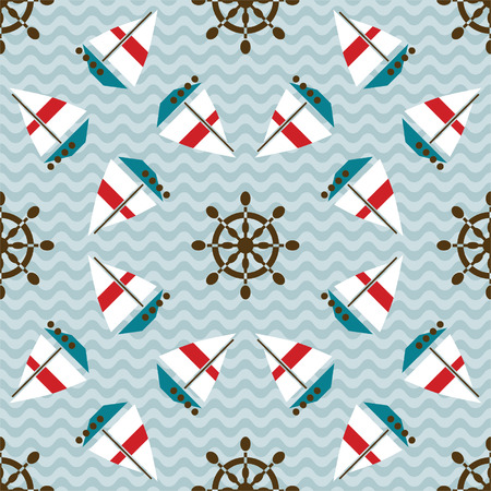 Seamless sea pattern with boats and hand wheels for textiles, interior design, for book design, website background Vector