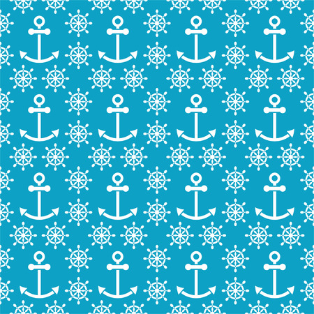 Seamless sea pattern with anchors, hand wheels for textiles, interior design, for book design, website background Vector