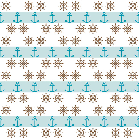 Seamless sea pattern with anchors and hand wheels for textiles, interior design, for book design, website background Vector