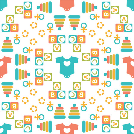 Seamless pattern of baby icons for textiles, interior design, for book design, website background  Vector