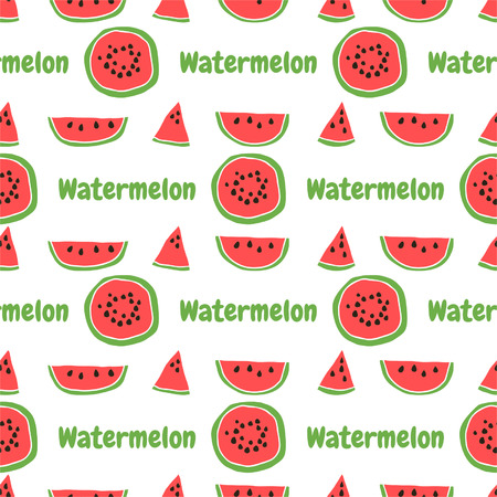 Seamless pattern of color hand drawn watermelons for textiles, interior design, for book design, website background  Vector