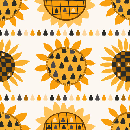 Seamless pattern with sunflower and seeds for textiles, interior design, for book design, website background Vector