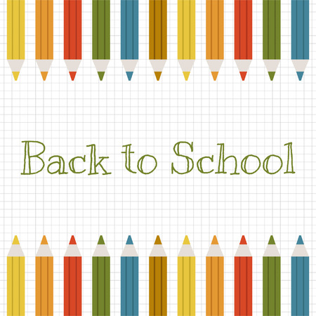 Back to school detailed vector background with color pencils for design