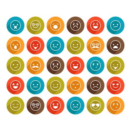 persona triste: Conjunto de iconos sonrientes de color para el dise�o Vectores