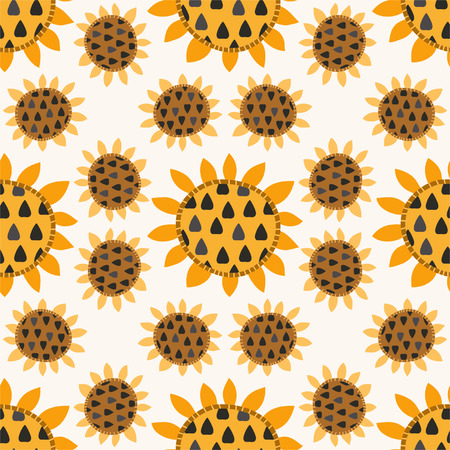 Seamless pattern with sunflowers for textiles, interior design, for book design, website background Vector