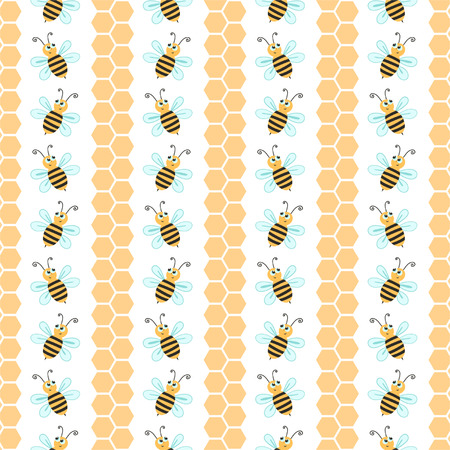 Seamless pattern with bees, decorative background Vector