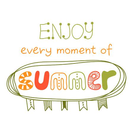 Geniet van elk moment van de zomer, citaat, inspirerend poster, typografisch ontwerp, vector ontwerp