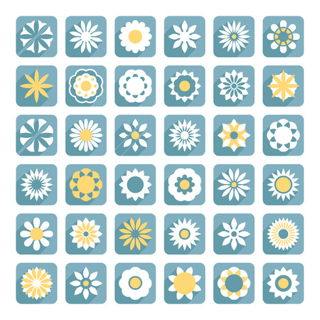 Set of flowers icons Vector