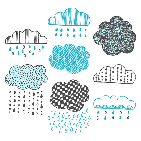Set of hand drawn doodle clouds for design Vector
