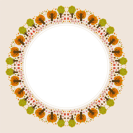 Decorative circular autumn ornament with space for text for design Vector