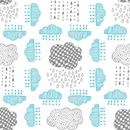 Seamless pattern of hand drawn doodle clouds for textiles, interior design, for book design, website background Vector