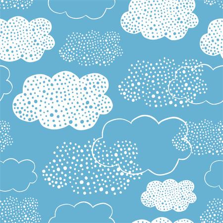 Naadloos patroon van hand getrokken krabbelwolken voor textiel, binnenlands ontwerp, voor boekontwerp, websiteachtergrond Stock Illustratie
